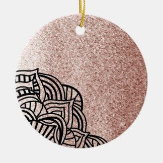 Rosen-Gold mit schwarzem Medaillon Rundes Keramik Ornament