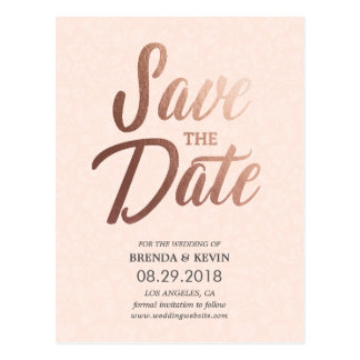 Rosen-Goldelegante Save the Date Postkarte