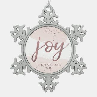 Rosen-Goldfeiertag der Freude-| Schneeflocken Zinn-Ornament