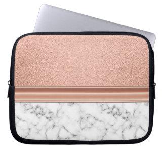 Rosen-Goldfolie auf Marmor Laptop Sleeve