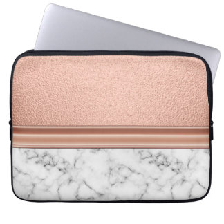 Rosen-Goldfolie auf Marmor Laptopschutzhülle