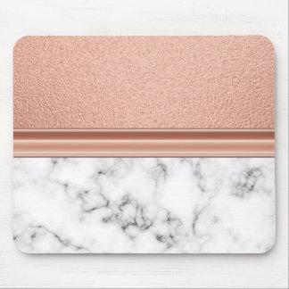 Rosen-Goldfolie auf Marmor Mousepads