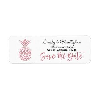 Rosen-Goldfolie, die Save the Date Ananas Wedding