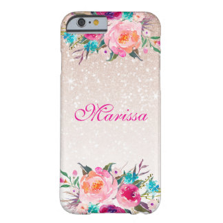 Rosen-GoldGlitzer Ombre BlumenWatercolor Barely There iPhone 6 Hülle