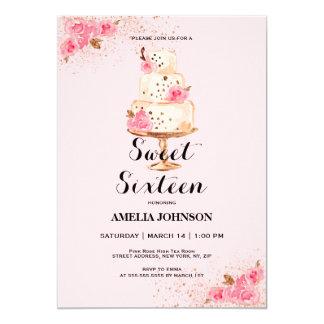 Rosen-Goldkuchen-16. Geburtstag-Einladung Karte