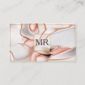 Rose Gold Modern Marble Pattern Monogram