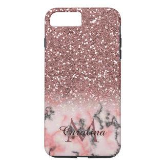 Rosen-Goldrosa-Glitzer, Marmor, personalisiert iPhone 8 Plus/7 Plus Hülle