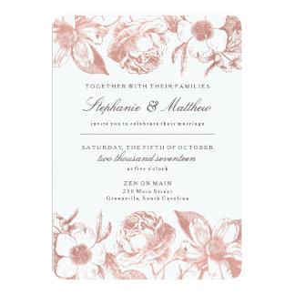Rosen-GoldVintage Blumenhochzeits-Einladung Karte