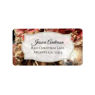 Rosen-Goldweihnachtsadressen-Aufkleber Adressaufkleber