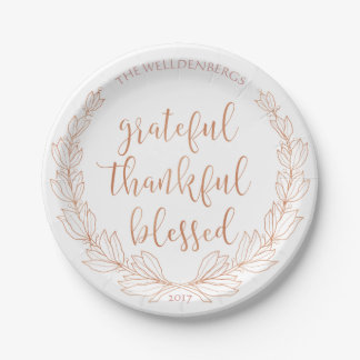 Rose Gold Wreath Grateful Thankful Blessed