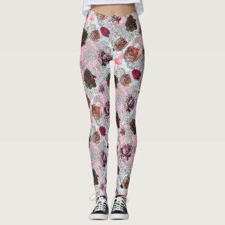 Rosen, Herzen und Blumen-Muster Leggings