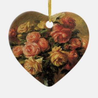 Rosen in einem Vase durch Pierre Renoir, Vintage Keramik Herz-Ornament