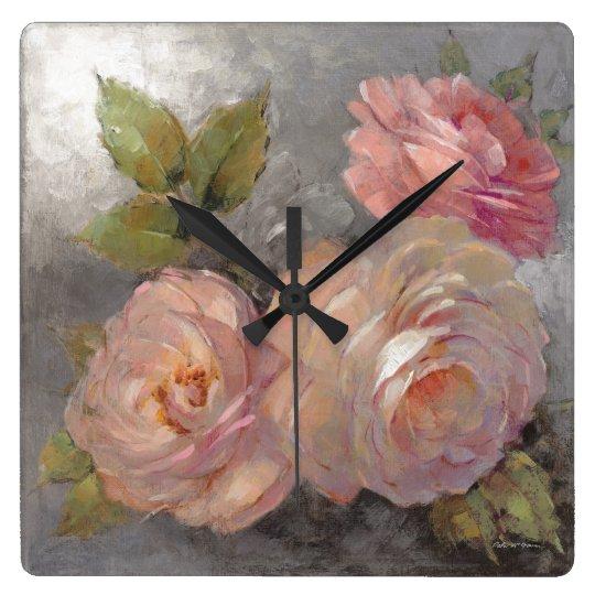 Rosen mit Grau Quadratische Wanduhr