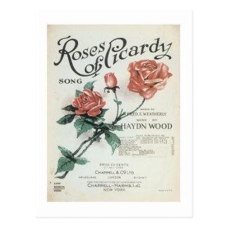 Rosen Pikardie der Vintagen Songbook-Abdeckung Postkarten