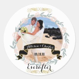 Rosen-Quarz-Gold personalisiert Ihr Hochzeits-Foto Runder Aufkleber