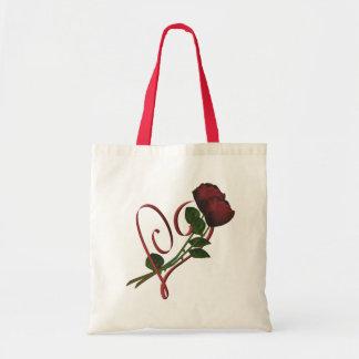 Rosen-rote Herz-Blume Tragetasche