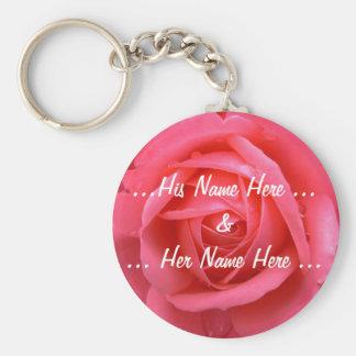 Rosen-Schlüsselketten-kundenspezifische rosarote Schlüsselanhänger