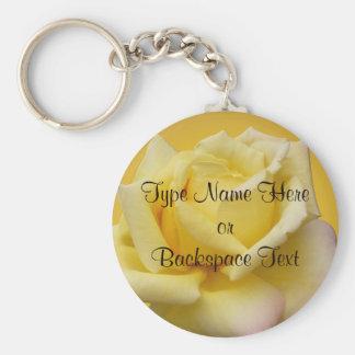 Rosen-Schlüsselketten-personalisierte gelbe Rose Schlüsselanhänger