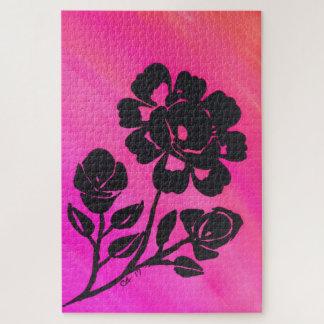 Rosen-Silhouette-helles rosa großes Puzzlespiel