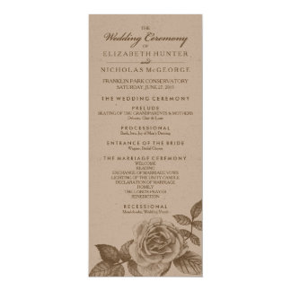 Rosen-Skizze-Hochzeits-Programm im Sepia Karte
