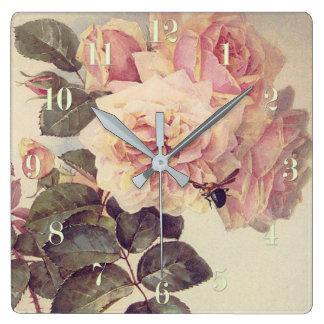 Rosen und eine Hummel-feine Kunst Quadratische Wanduhr