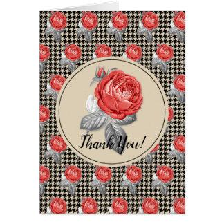 Rosen und Hahnentrittmusterentwurf danken Ihnen Karte