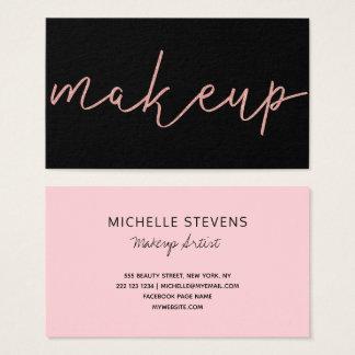 RosengoldGlitterschwarz-Make-upkünstlertypographie Visitenkarte