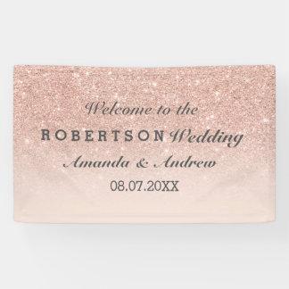 RosengoldImitat-Glitterrosa ombre Hochzeit Banner
