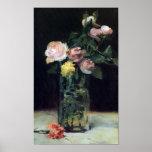 Roses dans de vase toujours une vie en verre par l affiches