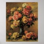 Roses dans un vase par Pierre Renoir, beaux-arts Poster