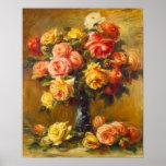Roses de Renoir dans une affiche de vase