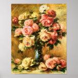 Roses en beaux-arts de Renoir de vase Poster