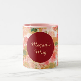 Roses floraux de monogramme mug bicolore