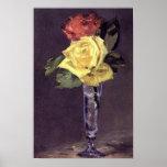 Roses romantiques dans une copie en verre de Champ Posters