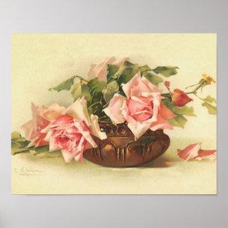 Roses roses dans une cuvette par l'affiche de Cath