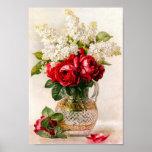 Roses rouges vintages et souffle du bébé poster