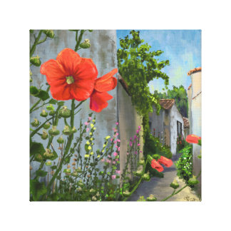 Roses trémière dans une allée française toiles tendues sur châssis