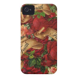 Roses vintages de caisse de Blackberry de foi Coques Case-Mate iPhone 4