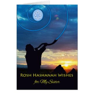 Rosh Hashanah für Schwester, Shofar-Horn und Grußkarte