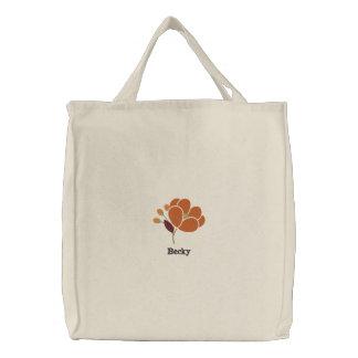 Rost-Blumen-personalisierte gestickte Tasche