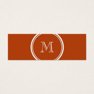 Rost-obere Grenze farbige Monogramm-Initiale Mini Visitenkarte