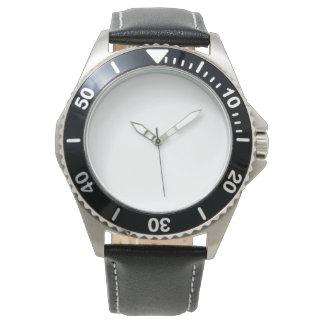 Rostfreie schwarze der Lederband-Uhr der Männer Uhr