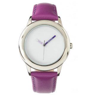 Rostfreier Stahl-lila lederner Bügel-Uhr Armbanduhr