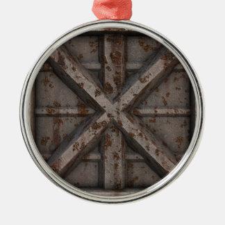 Rostiger Behälter - Beige - Rundes Silberfarbenes Ornament