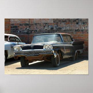 Rostiges 1959 Klassiker Zwei-Tür Auto Poster