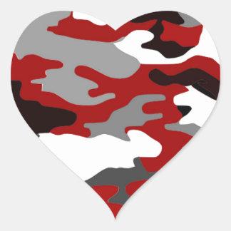 Rot beschattet Camouflage Herz-Aufkleber