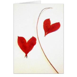 Rot-Blätter als Herzen Karte