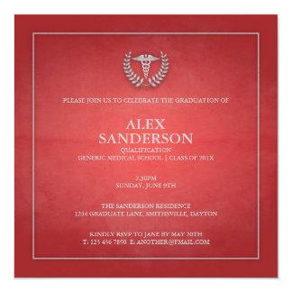 Rot der medizinische SchulAbschluss-Mitteilungs-| Quadratische 13,3 Cm Einladungskarte