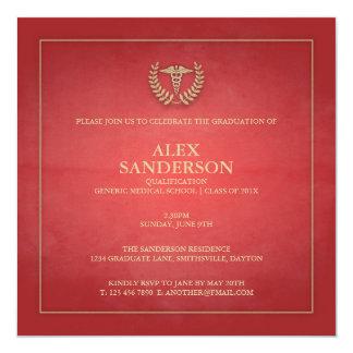 Rot der medizinische SchulAbschluss-Mitteilungs-  Quadratische 13,3 Cm Einladungskarte