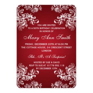 Rot elegantes 50. des Geburtstags-Party-Vintages 12,7 X 17,8 Cm Einladungskarte